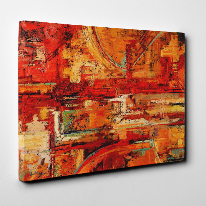 Tablou canvas abstract, Caramizi rosiatice 3