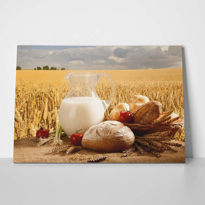 Tablou canvas bucatarie, Milk and Bread 4