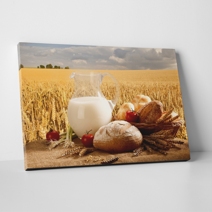 Tablou canvas bucatarie, Milk and Bread 0