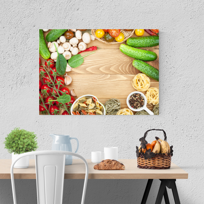 Tablou canvas bucatarie, Mushrooms and tomatoes 3