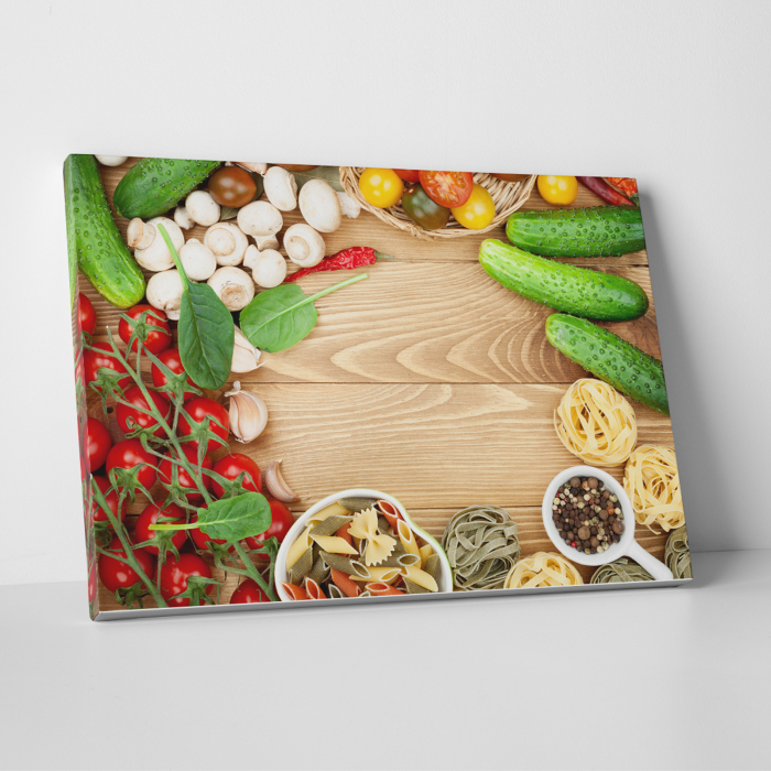 Tablou canvas bucatarie, Mushrooms and tomatoes 0
