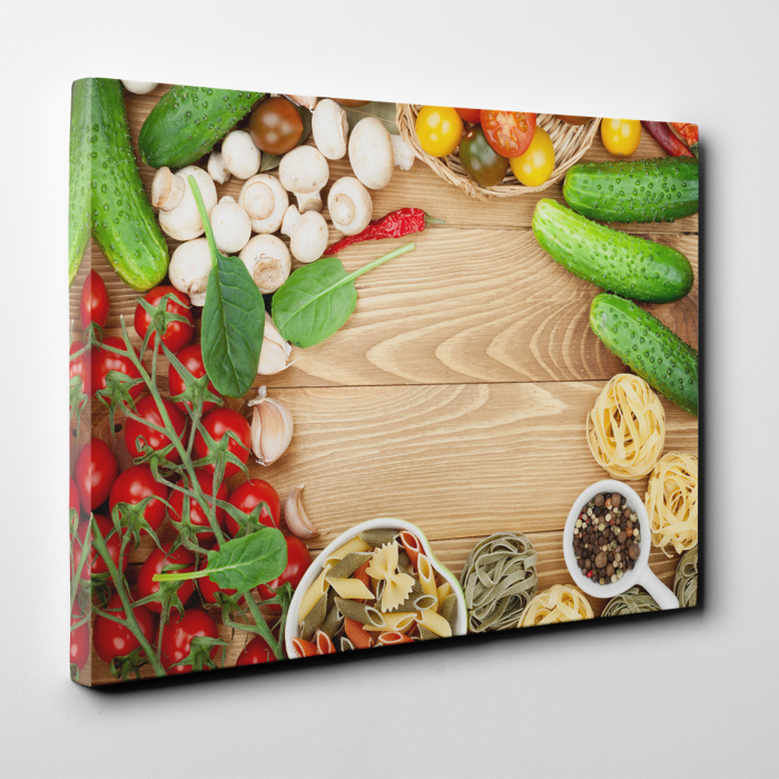Tablou canvas bucatarie, Mushrooms and tomatoes 2