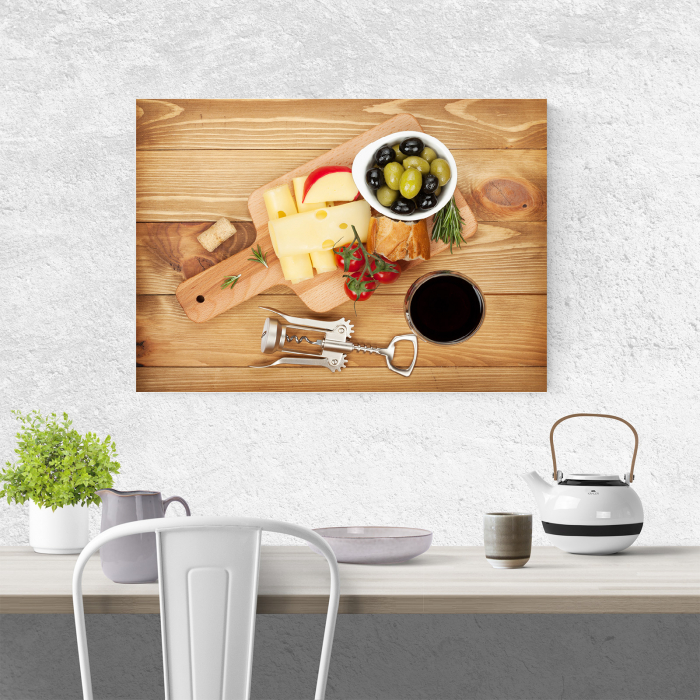 Tablou canvas bucatarie, Olives, cheese and wine 3