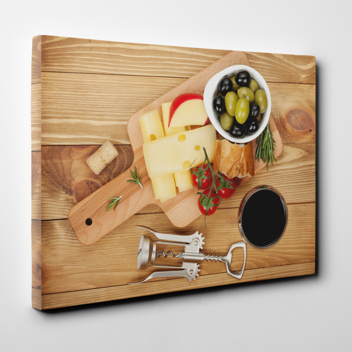 Tablou canvas bucatarie, Olives, cheese and wine 2