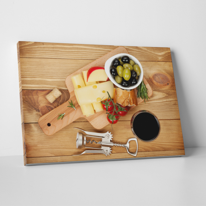 Tablou canvas bucatarie, Olives, cheese and wine 0