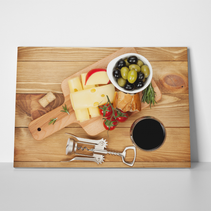 Tablou canvas bucatarie, Olives, cheese and wine 1