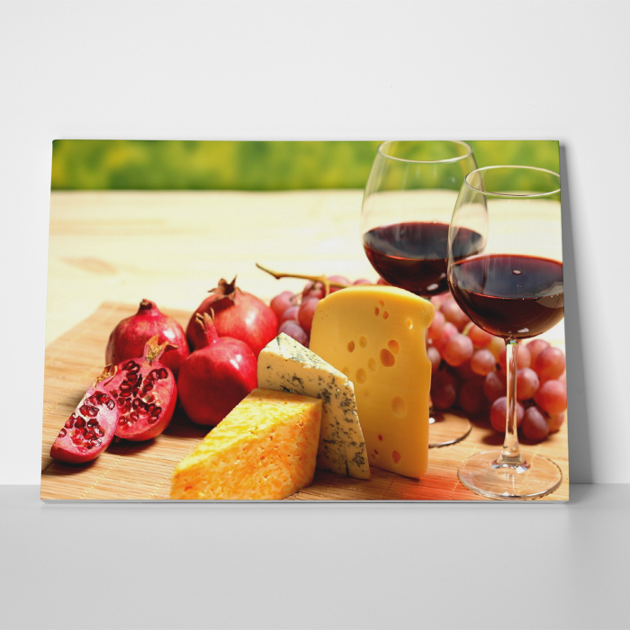 Tablou canvas bucatarie, Wine and Cheese 3