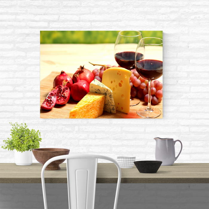 Tablou canvas bucatarie, Wine and Cheese 1