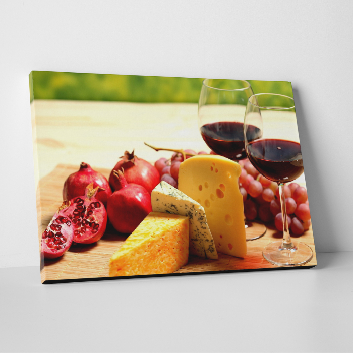 Tablou canvas bucatarie, Wine and Cheese 0