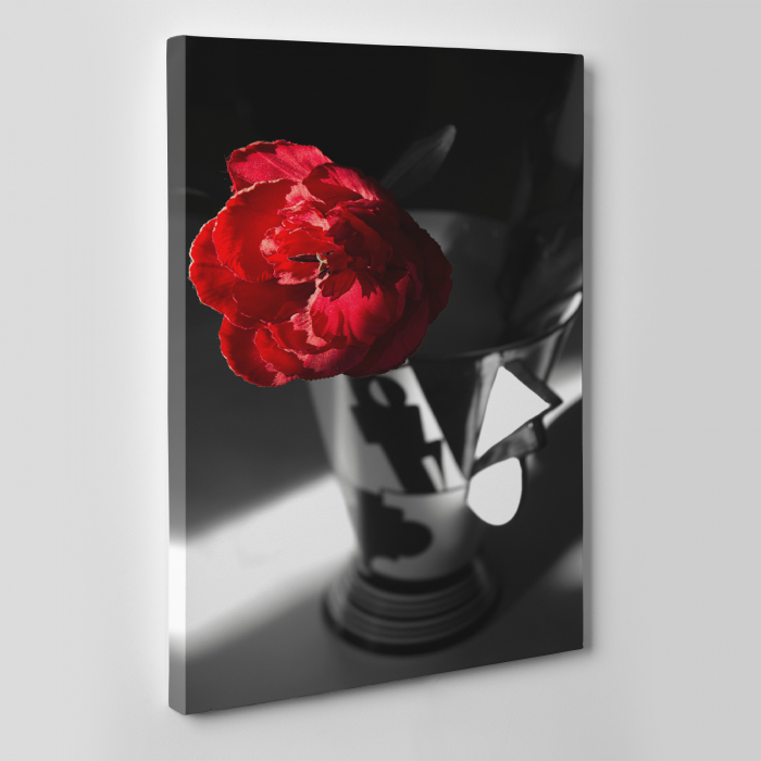 Tablou canvas floral, Red Rose on Black 3