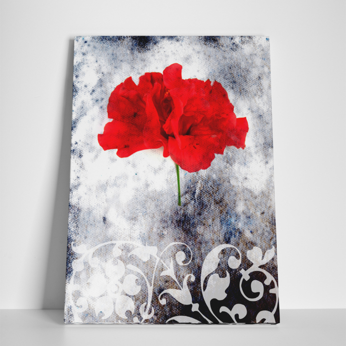 Tablou canvas floral, Single Red 2