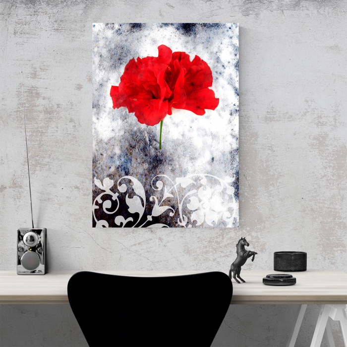 Tablou canvas floral, Single Red 4