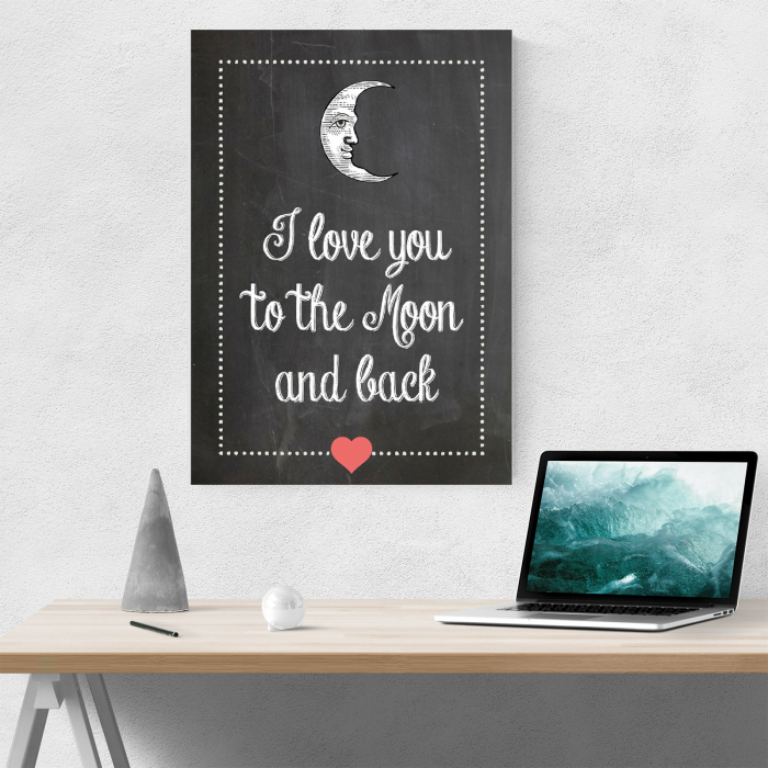 Tablou canvas motivational, To the moon and back 3