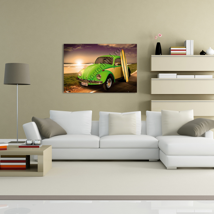 VW CALIFORNIAN Green Beetle With Surf Board 2