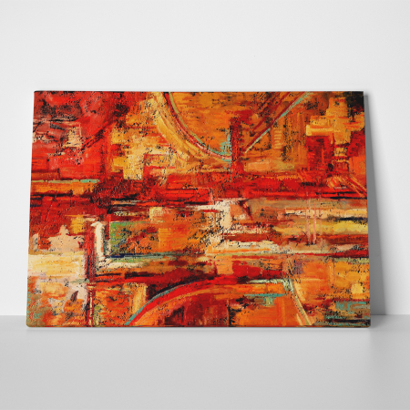 Tablou canvas abstract, Caramizi rosiatice2