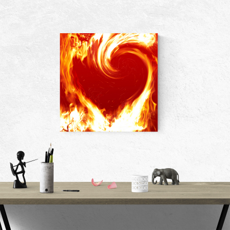Tablou canvas abstract, Inima in flacari1