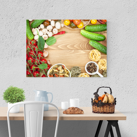 Tablou canvas bucatarie, Mushrooms and tomatoes3