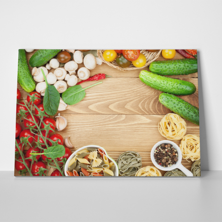 Tablou canvas bucatarie, Mushrooms and tomatoes1