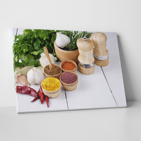 Tablou canvas bucatarie, Spices and Green Parsley0