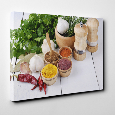 Tablou canvas bucatarie, Spices and Green Parsley2