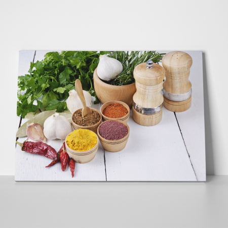 Tablou canvas bucatarie, Spices and Green Parsley1