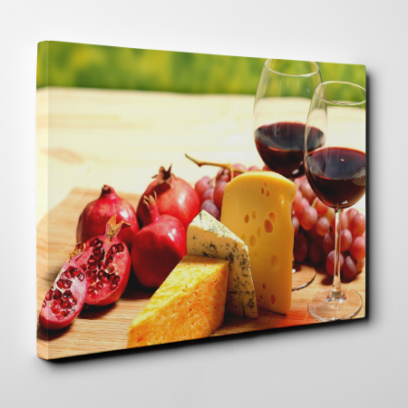 Tablou canvas bucatarie, Wine and Cheese2