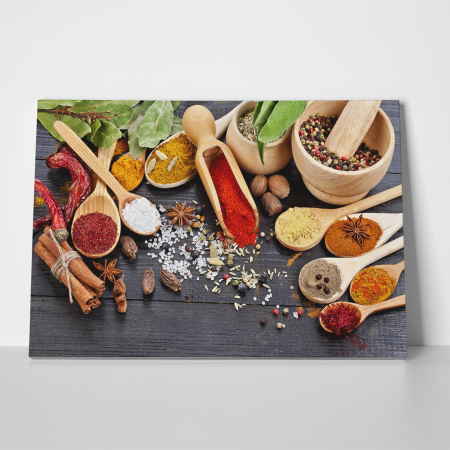 Tablou canvas bucatarie, Wooden Spices3