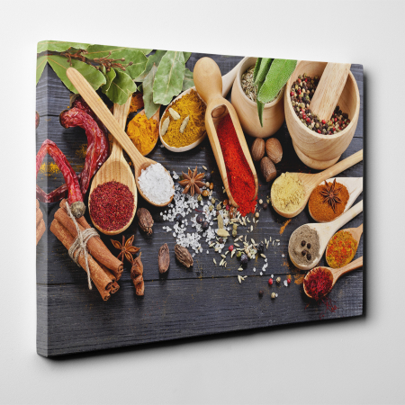Tablou canvas bucatarie, Wooden Spices2