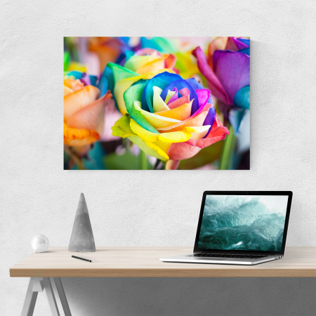 Tablou canvas floral, Rainbow Roses1