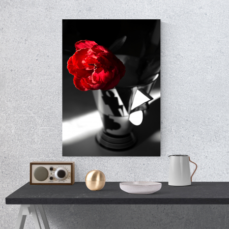 Tablou canvas floral, Red Rose on Black1