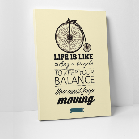 Tablou canvas motivational, Life is Like riding a bicycle0