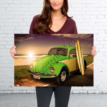 VW CALIFORNIAN Green Beetle With Surf Board1