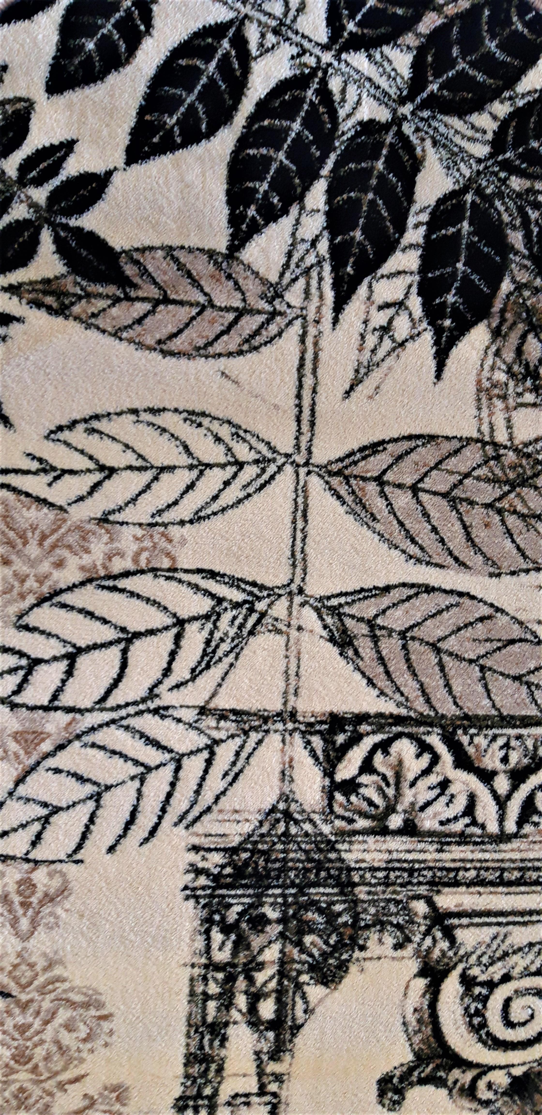 Covor Modern, Lotos Frunze 1545, Crem / Bej / Gri, Oval, 160x230 cm, 1800 gr/mp [4]