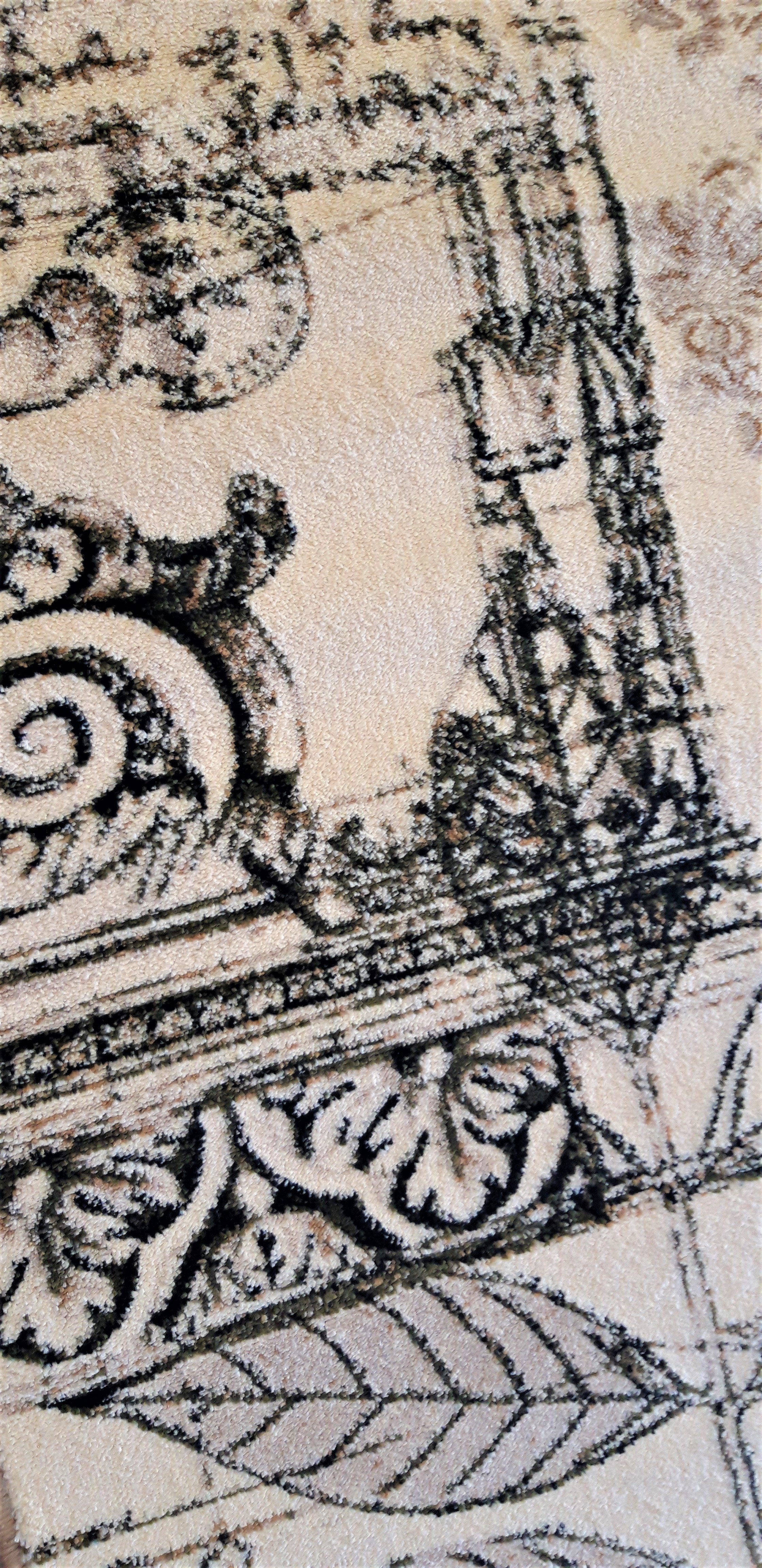 Covor Modern, Lotos Frunze 1545, Crem / Bej / Gri, Oval, 160x230 cm, 1800 gr/mp [6]