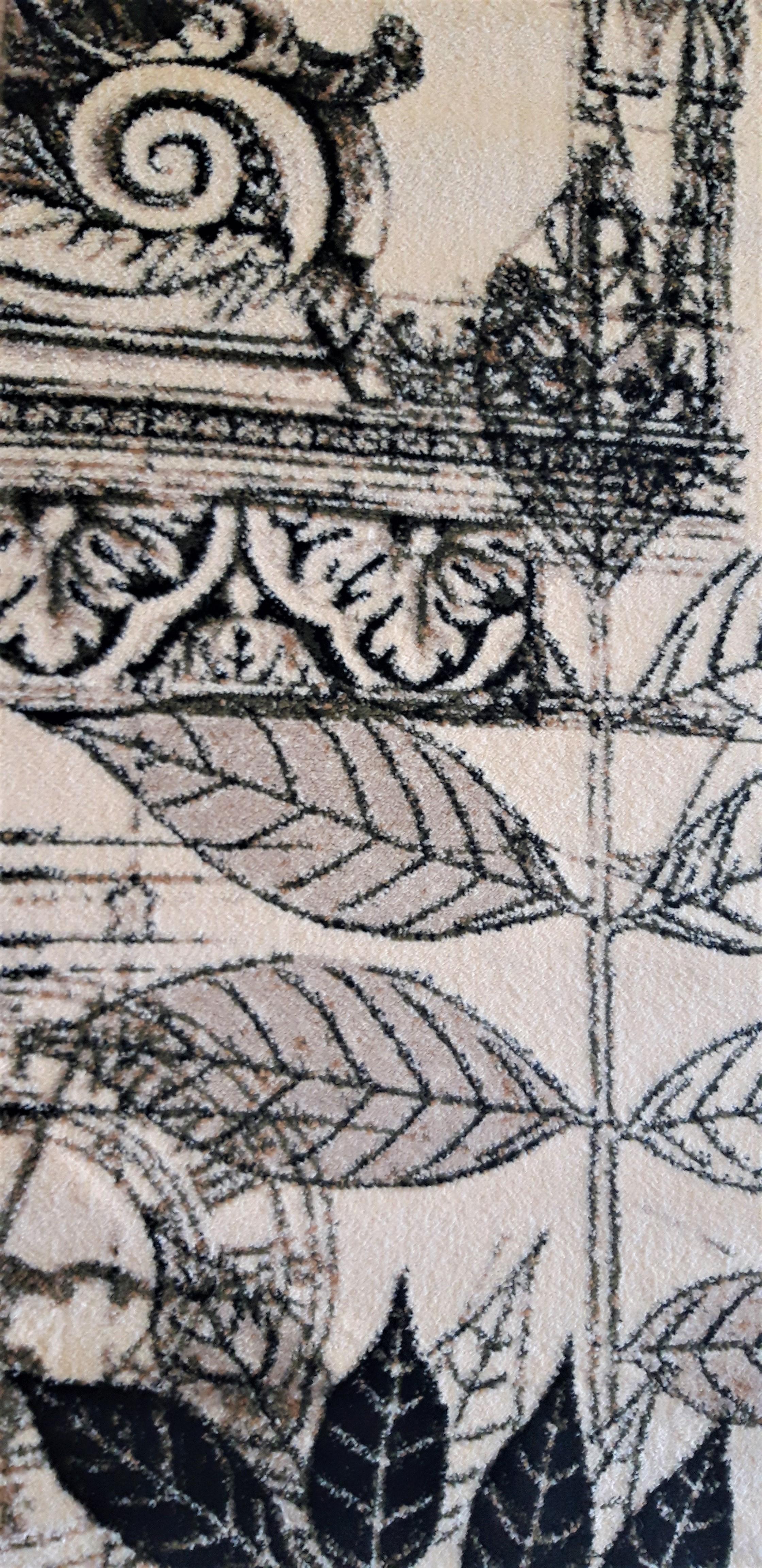 Covor Modern, Lotos Frunze 1545, Crem / Bej / Gri, Oval, 120x170 cm, 1800 gr/mp [5]