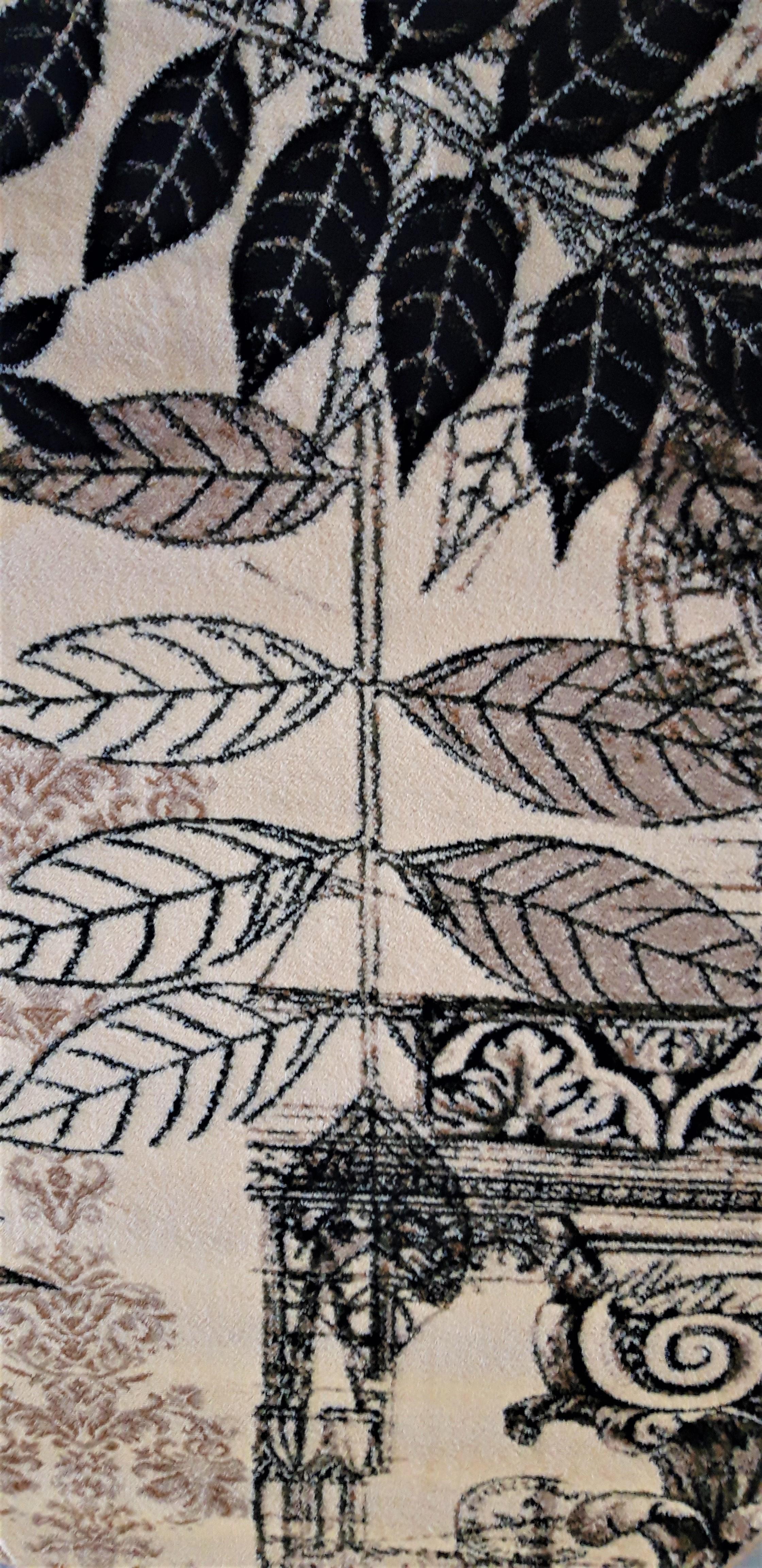 Covor Modern, Lotos Frunze 1545, Crem / Bej / Gri, Oval, 120x170 cm, 1800 gr/mp [6]