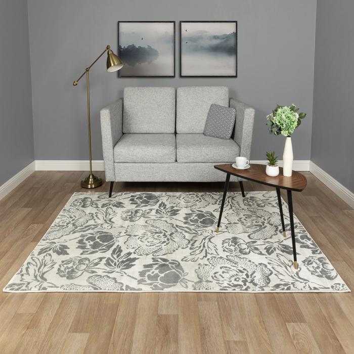 Covor Modern, Sofia Floral, Alb/Gri, Diverse Dimensiuni, 2450 gr/mp [1]
