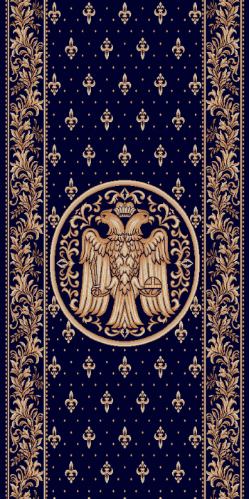 Traversa Covor, Lotos 15032, Albastru, Model Bisericesc, Latime 150 cm, Diverse Lungimi 0