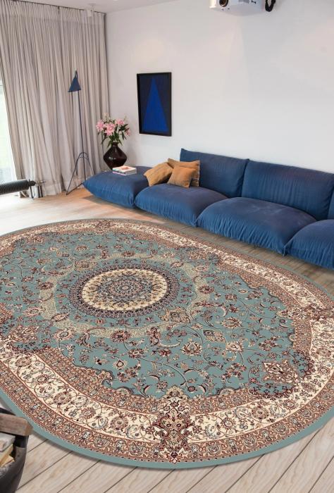 Covor Clasic, Cardinal 25501-410, Bleu, Oval, 100x100 cm, 2100 gr/mp 3