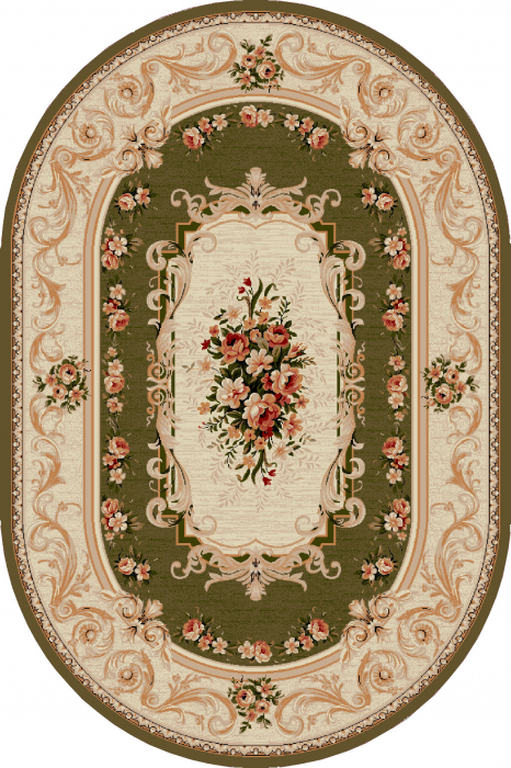 Covor Clasic, Lotos 535, Verde, Oval, 80x150 cm, 1800 gr/mp 0