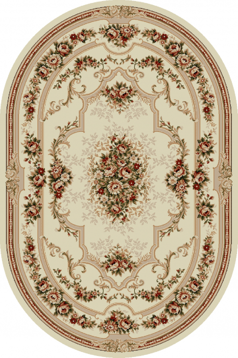 Covor Clasic, Lotos 574, Crem / Bej, Oval, 80x150 cm, 1800 gr/mp 0