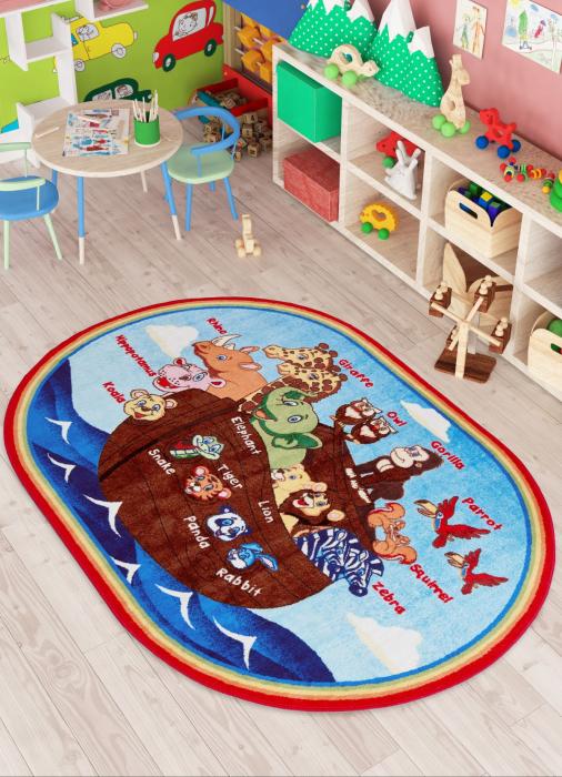Covor Pentru Copii, Antiderapant, Animal Ship, Multicolor, 133x190 cm, 1632 gr/mp [2]