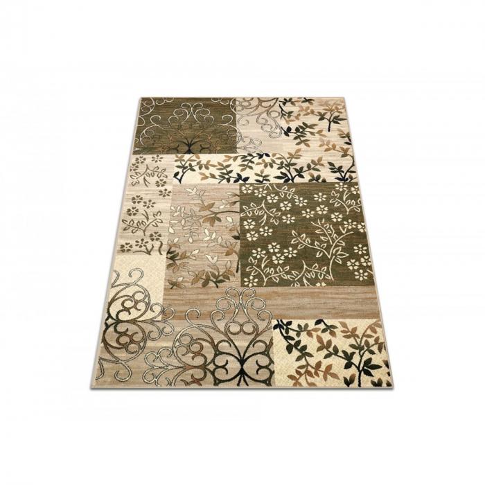 Covor Modern, Lotos 1521, Crem/Verde, 80x150 cm, 1800 gr/mp 1