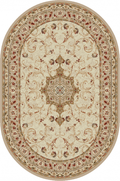 Covor Clasic Lotos 523, Bej / Crem, Oval, 100x200 cm, 1800 gr/mp [0]