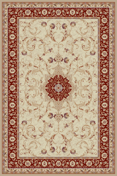 Covor Clasic, Lotos 523, Crem / Rosu, 80x150 cm, 1800 gr/mp 0