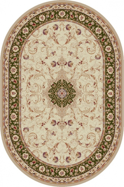 Covor Clasic, Lotos 523, Crem / Verde, Oval, 200x300 cm, 1800 gr/mp 0