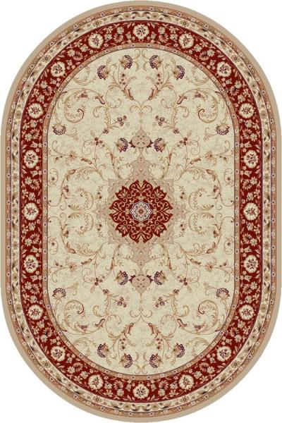Covor Clasic, Lotos 523, Crem / Rosu, Oval, 80x150 cm, 1800 gr/mp [0]