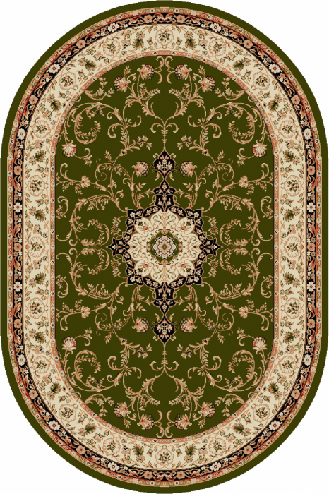 Covor Clasic, Lotos 523, Verde, Oval, 100x200 cm, 1800 gr/mp [0]