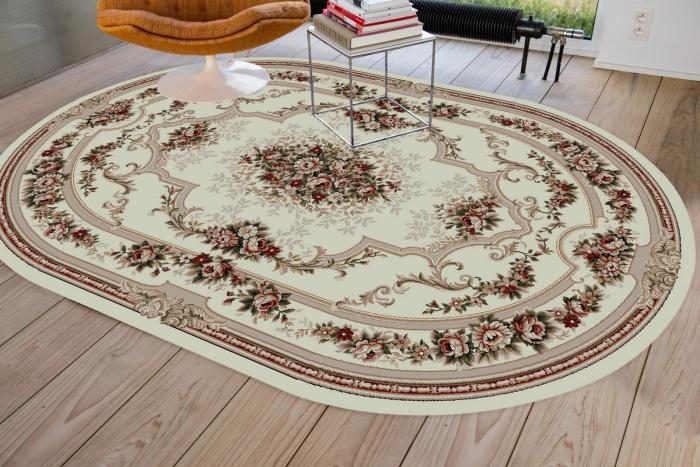 Covor Clasic, Lotos 574, Crem / Bej, Oval, 60x110 cm, 1800 gr/mp [1]