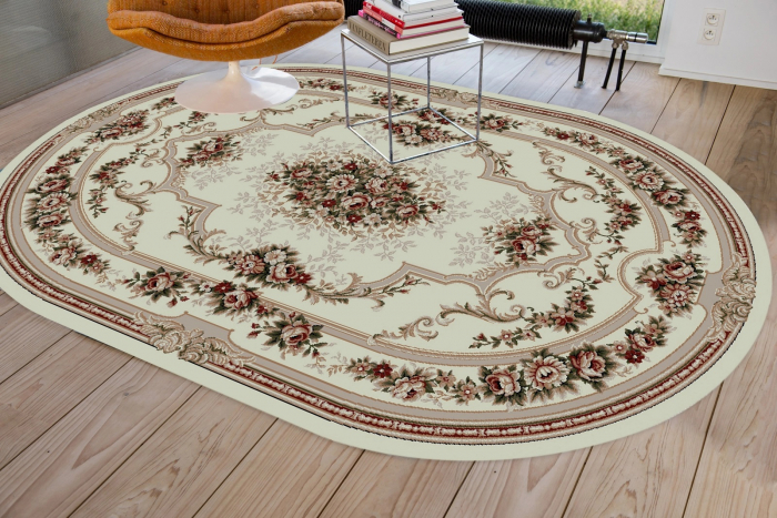 Covor Clasic, Lotos 574, Crem / Bej, Oval, 80x150 cm, 1800 gr/mp 1